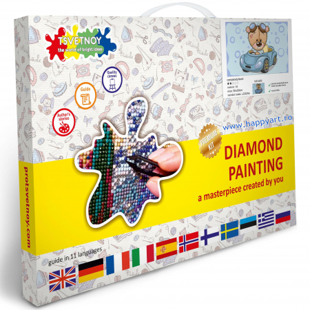 Set Goblen cu diamante, cu sasiu, Ursuletul TEDDY in masina, 20x30 cm, 10 culori [3]