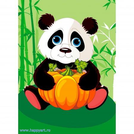 Set Goblen cu diamante, cu sasiu, Panda cu Dovleac, 17x22 cm, 12 culori [0]