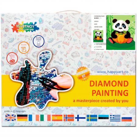Set Goblen cu diamante, cu sasiu, Panda cu Dovleac, 17x22 cm, 12 culori [2]