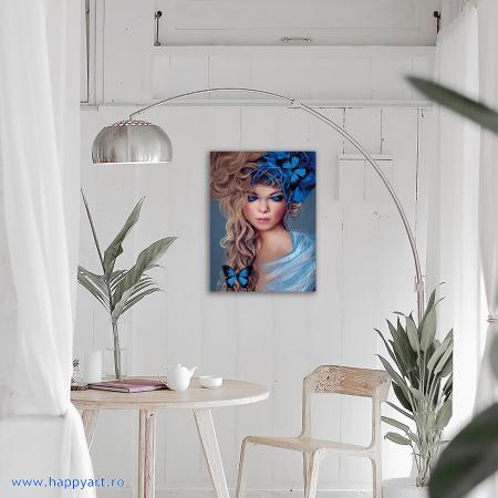 Set Goblen cu diamante, cu sasiu, Fata cu Fluturi, 30x40 cm, 26 culori [1]