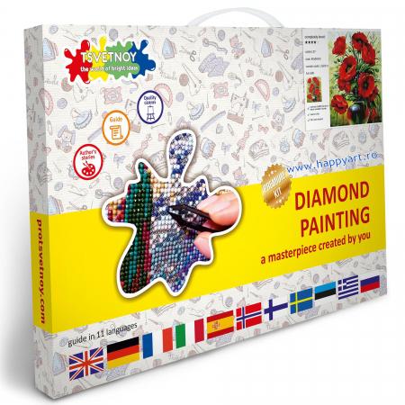 Set Goblen cu diamante, cu sasiu, Buchet de Maci, 40x50 cm, 27 culori [3]