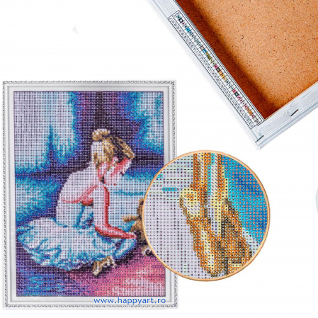 Set Goblen cu diamante, cu sasiu, Balerina - Primii Pasi, 30x40 cm, 26 culori [5]