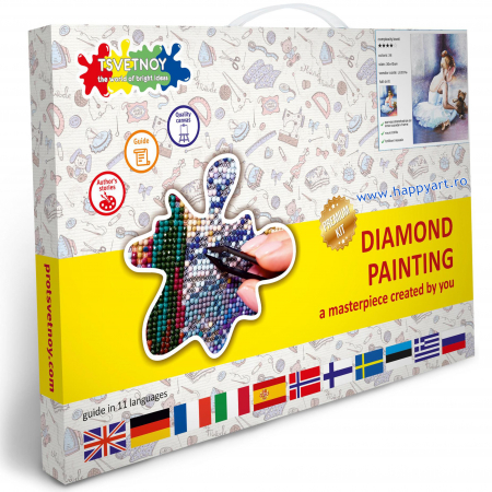 Set Goblen cu diamante, cu sasiu, Balerina - Primii Pasi, 30x40 cm, 26 culori [3]