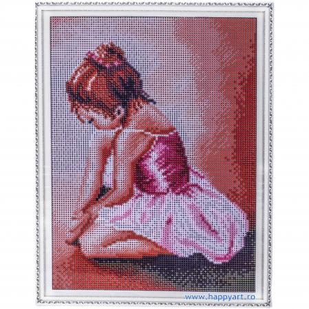 Set Goblen cu diamante, cu sasiu, Balerina Baby, 30x40 cm, 21 culori [1]