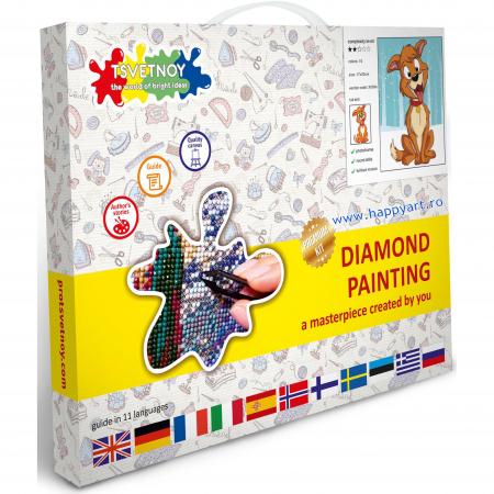 Set Goblen cu diamante, cu sasiu, Catelusul Fericit, 17x22 cm, 10 culori [2]