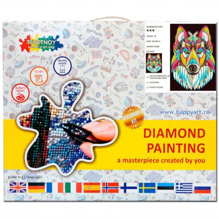 Set Goblen cu diamante, cu sasiu, Lup Colorat, 30x40 cm, 18 culori [2]
