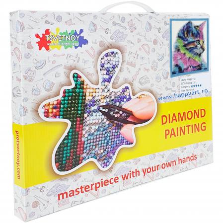 Set Goblen cu diamante, cu sasiu, Pisoi Colorat, 40x50 cm, 30 culori [3]