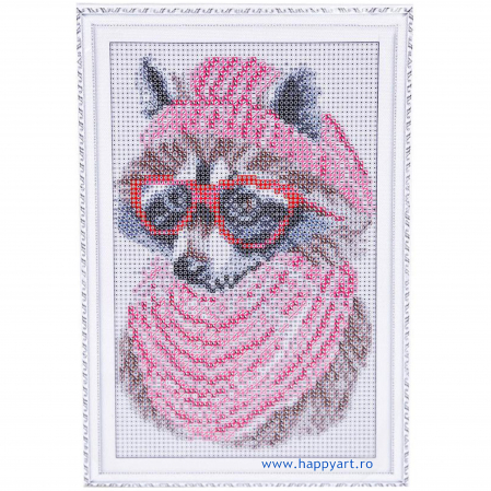 Set Goblen cu diamante, cu sasiu, Raton cu ochelari, 20x30 cm, 19 culori [1]