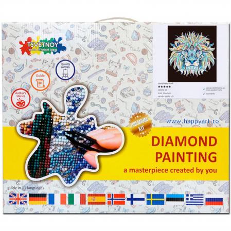 Set Goblen cu diamante, cu sasiu, Leu Etnic, 40x50 cm, 30 culori [2]