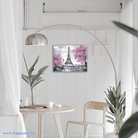 Set Goblen cu diamante, cu sasiu, Turnul Eiffel Inflorit, 40x50 cm, 15 culori [2]