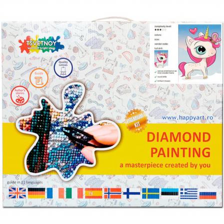 Set Goblen cu diamante, cu sasiu, Unicorn Magic, 20x30 cm, 14 culori [3]