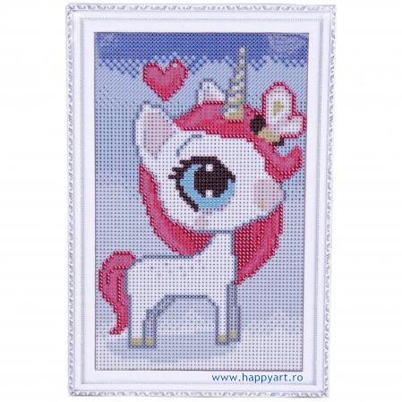 Set Goblen cu diamante, cu sasiu, Unicorn Magic, 20x30 cm, 14 culori [1]