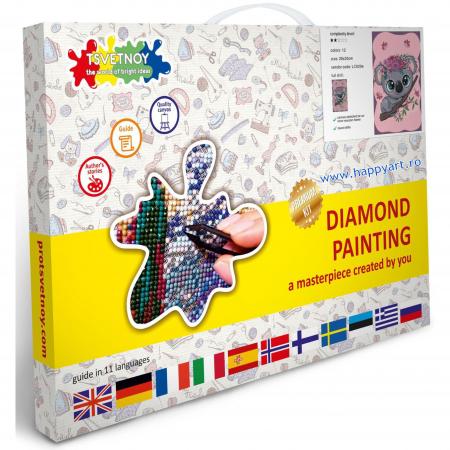 Set Goblen cu diamante, cu sasiu, Micul Koala, 20x30 cm, 12 culori [3]