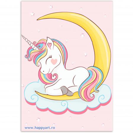 Set Goblen cu diamante, cu sasiu, Dreaming Baby Unicorn, 20x30 cm, 14 culori [0]