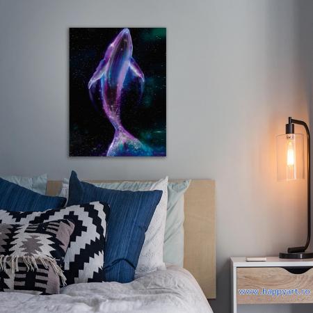 Set Goblen cu diamante, cu sasiu, Balena Spatiala, 40x50 cm, 20 culori [1]