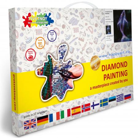 Set Goblen cu diamante, cu sasiu, Balena Spatiala, 40x50 cm, 20 culori [2]