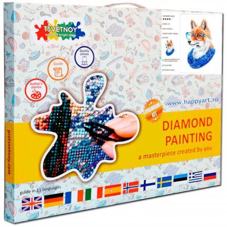 Set Goblen cu diamante, cu sasiu, Vulpe cu Ochelari, 20x30 cm, 19 culori [2]