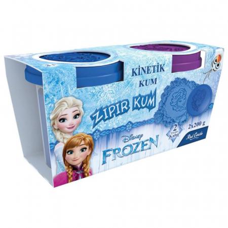 Frozen, Disney, Set Nisip kinetic, 2x200 g, mov si albastru, 2 forme Elsa si Olaf, + 3 ani0