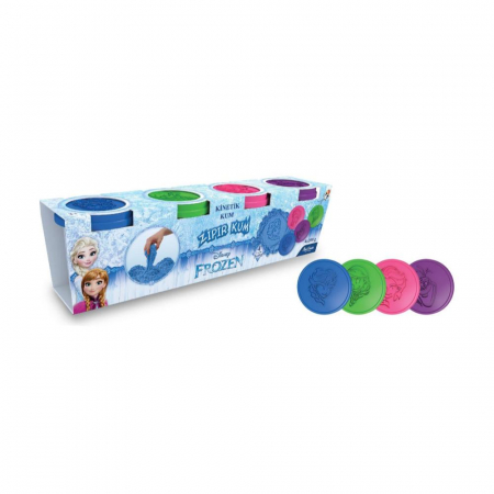 Frozen, Disney, Set Nisip kinetic, 4x200 g, mov, albastru, roz si verde, 4 forme Elsa, Anna si Olaf, + 3 ani0