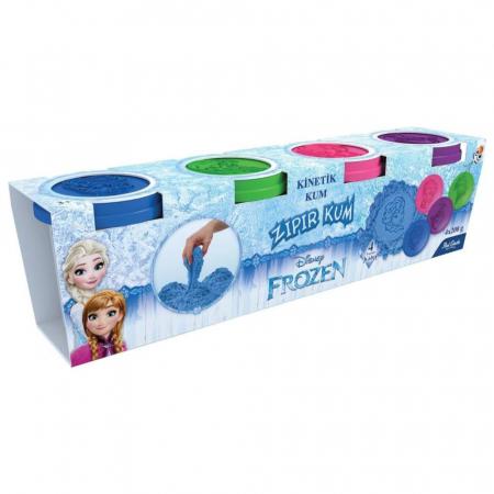 Frozen, Disney, Set Nisip kinetic, 4x200 g, mov, albastru, roz si verde, 4 forme Elsa, Anna si Olaf, + 3 ani1