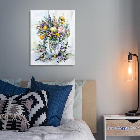 Set pictura pe numere, cu sasiu, Buchet de Flori de Lunca, 40x50 cm, 30 culori [2]