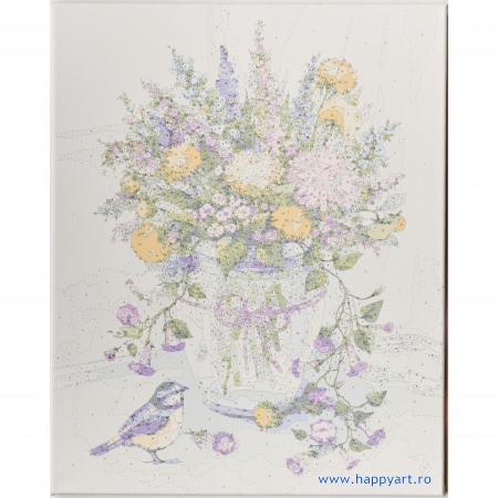 Set pictura pe numere, cu sasiu, Buchet de Flori de Lunca, 40x50 cm, 30 culori [4]