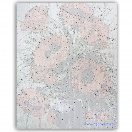 Set pictura pe numere, cu sasiu, Buchet de Maci, 40x50 cm, 29 culori [6]