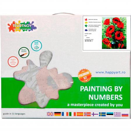 Set pictura pe numere, cu sasiu, Buchet de Maci, 40x50 cm, 29 culori [3]