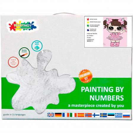 Set pictura pe numere, cu sasiu, Fetita in Rochie Roz, 20x30 cm, 19 culori [3]