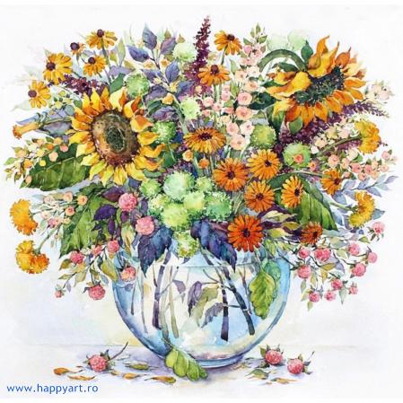 Set pictura pe numere, cu sasiu, Floarea Soarelui in Vaza, 40x50 cm, 24 culori [0]