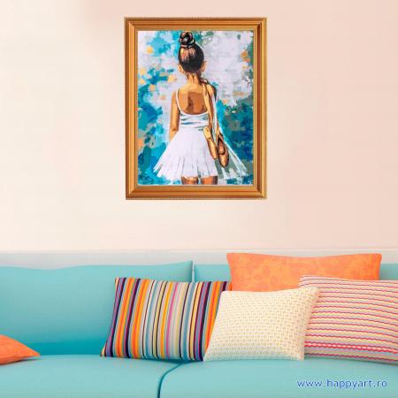 Set pictura pe numere, cu sasiu, Mica Balerina, 40x50 cm, 24 culori [2]