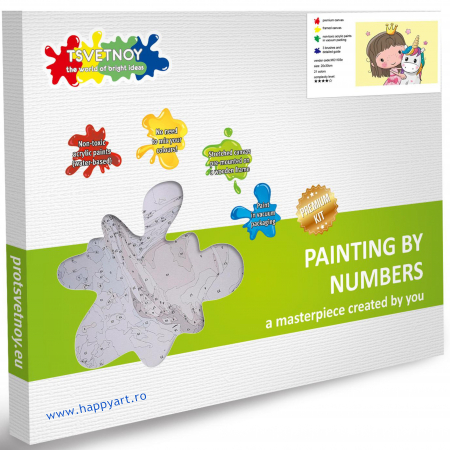 Set pictura pe numere, cu sasiu, Printesa cu un mic Unicorn, 20x30 cm, 21 culori [4]