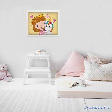 Set pictura pe numere, cu sasiu, Printesa cu un mic Unicorn, 20x30 cm, 21 culori [3]