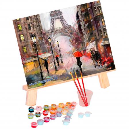 Set pictura pe numere, cu sasiu, Parisul in Ploaie, 40x50 cm, 30 culori [1]