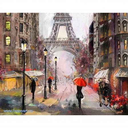Set pictura pe numere, cu sasiu, Parisul in Ploaie, 40x50 cm, 30 culori [0]