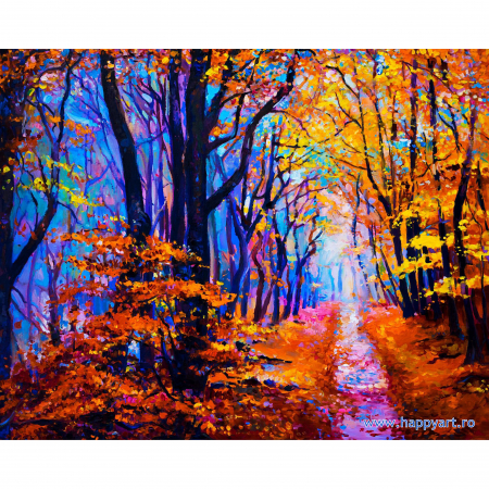 Set pictura pe numere, cu sasiu, Poteca de Padure Toamna, 40x50 cm, 24 culori  Set pictura pe numere, cu sasiu, Poteca de Padure Toamna, 40x50 cm, 24 culori [0]