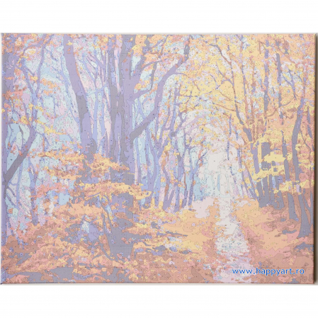 Set pictura pe numere, cu sasiu, Poteca de Padure Toamna, 40x50 cm, 24 culori  Set pictura pe numere, cu sasiu, Poteca de Padure Toamna, 40x50 cm, 24 culori [5]