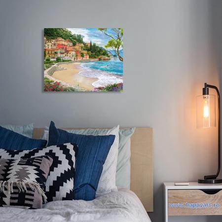 Set Pictura pe numere cu sasiu, Oras la Malul Marii, 40x50 cm [2]