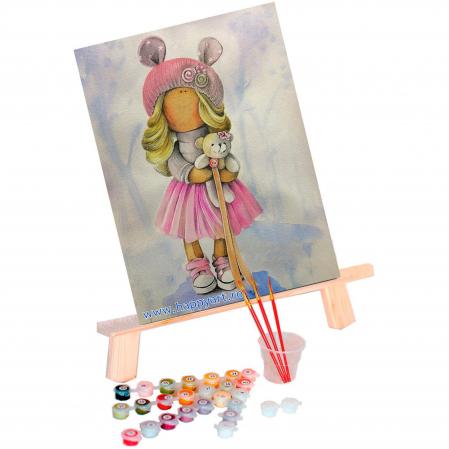Set pictura pe numere, cu sasiu, Papusa Olivia, 30x40 cm, 22 culori [1]