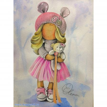 Set pictura pe numere, cu sasiu, Papusa Olivia, 30x40 cm, 22 culori [0]