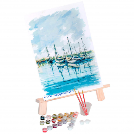 Set pictura pe numere, cu sasiu, Peisaj Marin, 30x40 cm, 22 culori [1]