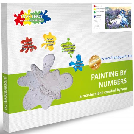 Set pictura pe numere, cu sasiu, Pisici - In Lavanda, 30x40 cm, 27 culori [4]