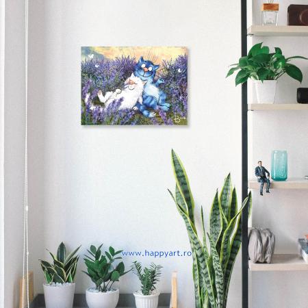 Set pictura pe numere, cu sasiu, Pisici - In Lavanda, 30x40 cm, 27 culori [2]