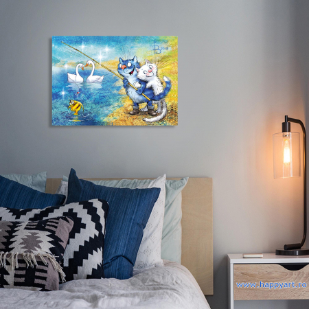 Set pictura pe numere, cu sasiu, Pisici - La Pescuit, 30x40 cm, 29 culori [4]