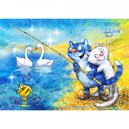 Set pictura pe numere, cu sasiu, Pisici - La Pescuit, 30x40 cm, 29 culori [0]