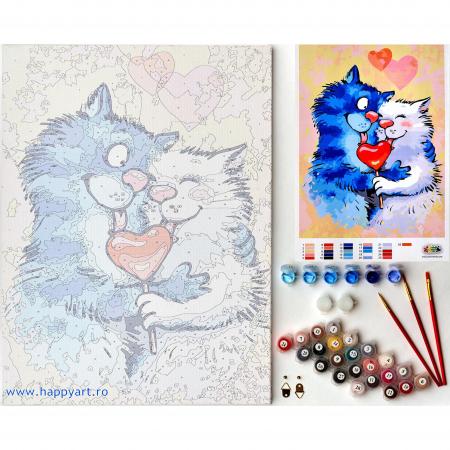 Set pictura pe numere, cu sasiu, Pisici - Impartasind Fericirea, 30x40 cm, 26 culori [7]