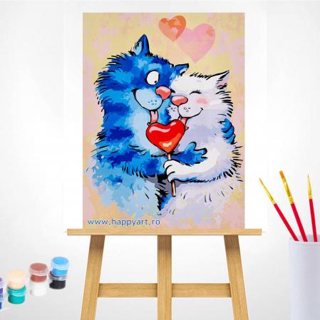 Set pictura pe numere, cu sasiu, Pisici - Impartasind Fericirea, 30x40 cm, 26 culori [1]