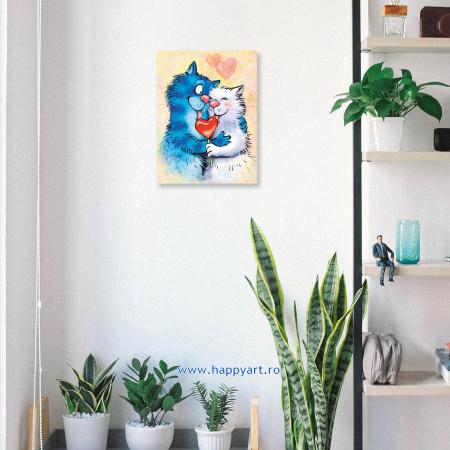 Set pictura pe numere, cu sasiu, Pisici - Impartasind Fericirea, 30x40 cm, 26 culori [2]