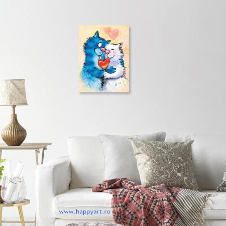 Set pictura pe numere, cu sasiu, Pisici - Impartasind Fericirea, 30x40 cm, 26 culori [3]
