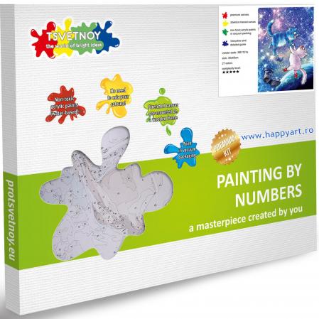 Set pictura pe numere, cu sasiu, Pisici - Din Univers, 30x40 cm, 27 culori [5]